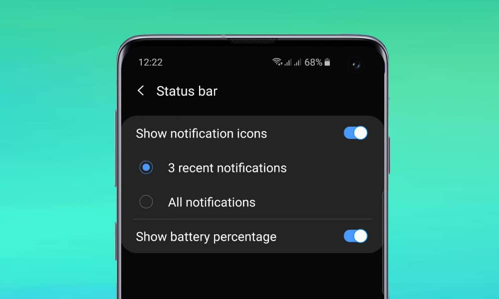 How to Show Battery Percentage on S10