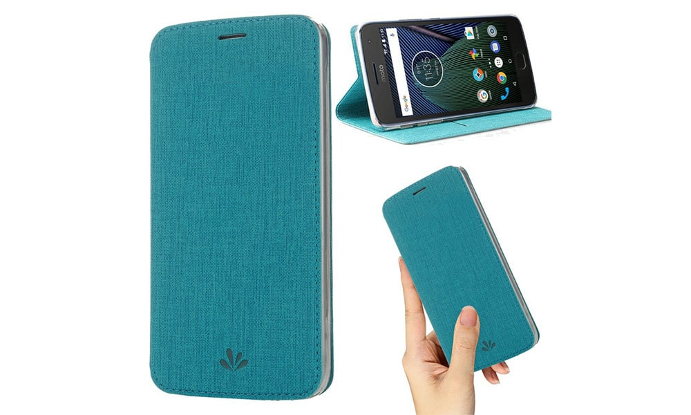 Moto G6 Case, Premium Flip Leather Wallet Case